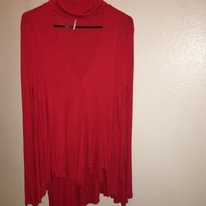 Free People scarlet red turtle neck tunic